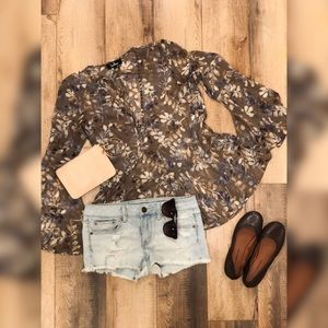 LuLu's Taupe Floral Long Sleeve Top